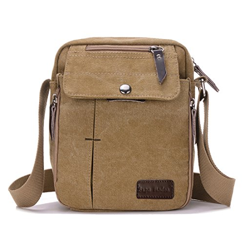Super Modern™ Men Small Vintage Canvas Messenger Bag Cross body bag Pack  Organizer Satchel Bag Durable Multi-pocket Sling Shoulder Bag 2ba56645102a5