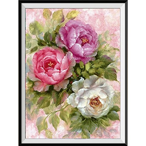 Xmansky Pintura de flores Cuadros punto de cruz kit Full taladro gato bordado de punto de cruz artes manualidades lienzo