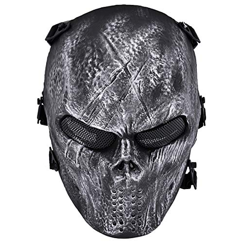 Coxeer Unique Outdoor Airsoft Paintball Bb Gun Game Face Mask Face Guard (Silver)