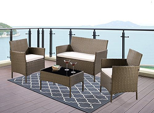 Remarkable Unmatchable 4 Piece Garden Furniture Set Conservatory Patio Rattan Outdoor Table Chairs Sofa 5 Colour Choices Optional Green Cover Home Interior And Landscaping Ferensignezvosmurscom