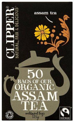Clipper fairtrade organic assam tea bundle (fairtrade, soil association) (black tea) (assam) (6 packs of 50 bags) (300 bags) (brews in 2-4 minutes)