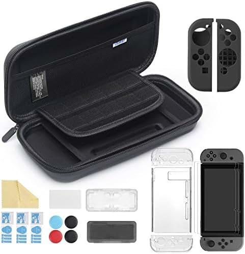 iAmer 11 in 1 Zubehör für Nintendo Switch, Tasche für Nintendo Switch and Transparent Hülle and 3 Displayschutzfolie and Silikon Joy-Con Tasche and Game Card Tasche