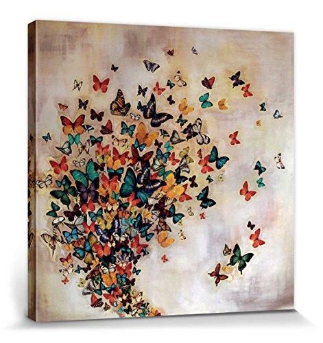 1art1 Mariposas - Flock of Butterflies, Lily Greenwood Cuadro, Lienzo Montado sobre Bastidor (40 x 40cm)