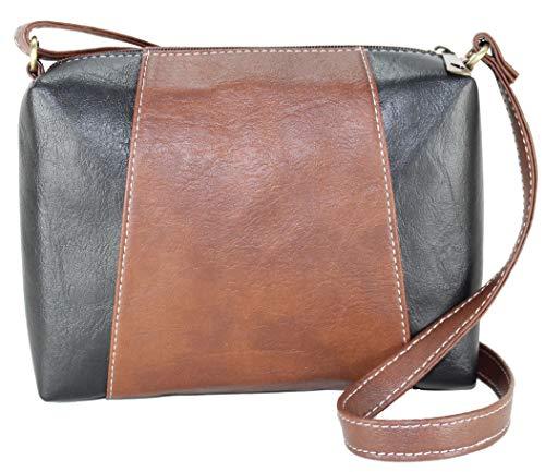 Fargo Motley PU Leather Women's & Girl's Cross Body Side Sling Bag (Brown,Black_FGO-093)