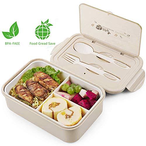 LAKIND Lunch Box, Porta Pranzo, 1400ml Kids Bento Box con 3 Scomparti e Posate(Forchetta e...