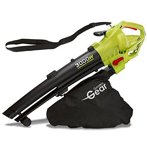 Garden Gear Soffiatore per Foglie e trituratore, Elettrico 3 in 1, velocità variabile con Grande...
