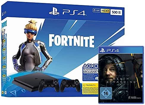 PlayStation 4 Slim - Konsole (500GB): Fortnite Neo Bundle + 2 Controller + Death Stranding