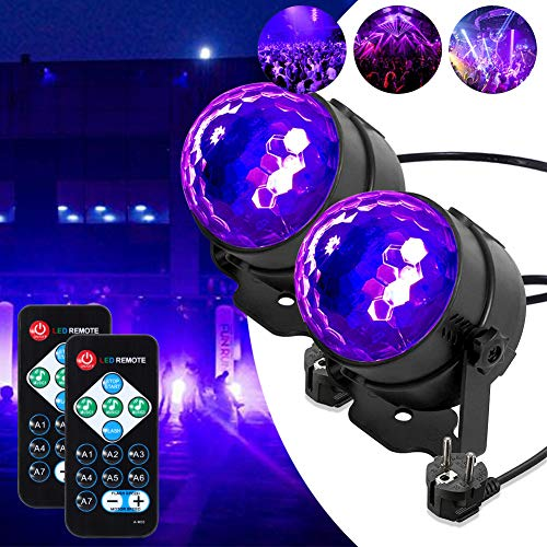 Lunsy - Sfera da discoteca con raggi UV, illuminazione a LED, luce da discoteca, con telecomando e...