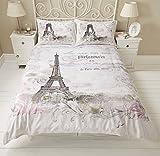 Copripiumino reversibile per letto matrimoniale, motivo: Torre Eiffel, Parigi, rose, fiori, scrittura