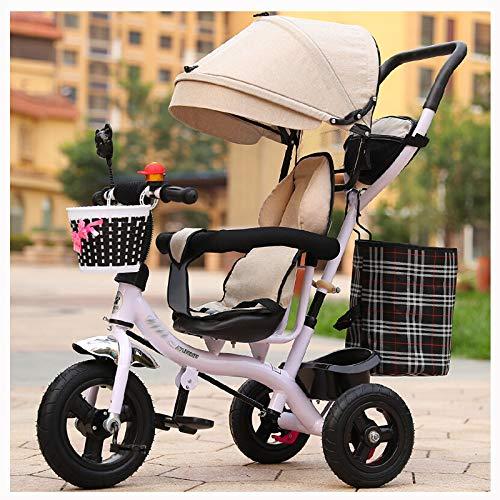 Bambini Triciclo, Regolabile [Rotating Seat] Passeggino, 0-6 Mesi, Carrello A Tre Ruote, Sistema di...