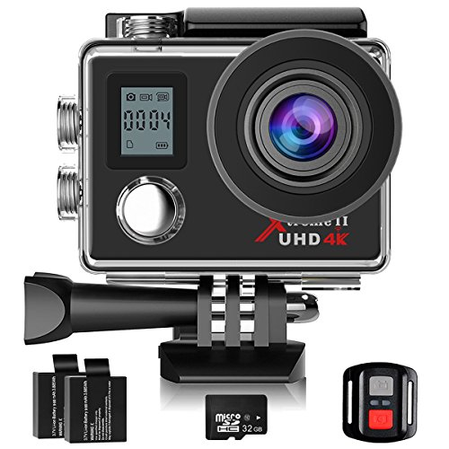 Campark 4K Action Camera Dual Screen WIFI Ultra HD 16MP Impermeabile Sport Cameras 170 ° Grandangolare con 32GB Classe 10 Scheda di Memoria Telecomando due 1050mAh Batterie