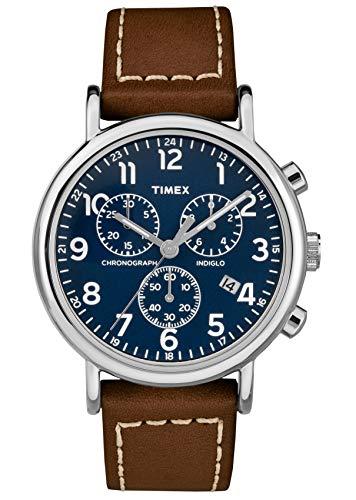 Timex Herren Chronograph Quarz Uhr mit Leder Armband TW2R42600