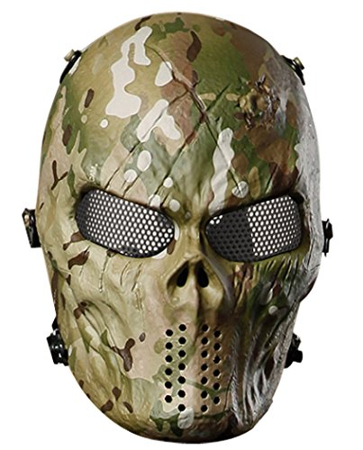 Outgeek Airsoft Mask with Metal Mesh Eyes Protection Full Face Paintball Mask, Outdoor Tactical Mask Military for Cs War Game Camouflage-2