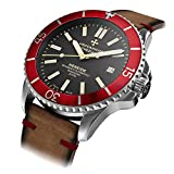 Meccaniche Veneziane Nereide Watch Diver Automatic Swiss Made Men's with Leather Strap and Extra Silicone Strap (Rubino Sabbia)