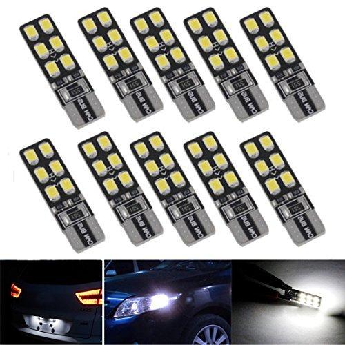 FEZZ 10pcs CANBUS T10 lampadine LED 12SMD 2835 Luci di posizione Piastra lampada auto Gioca Car...