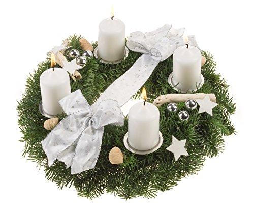floristikvergleich.de Echter Adventskranz Schneeflöckchen. 30 cm weiß