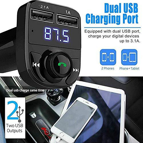 ABSK Car X8 Bluetooth FM Transmitter Radio Adapter Calling/Music Control/USB Charging Port