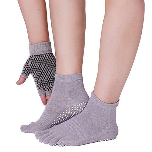 JJunLiM Giacche e Guanti da Donna Yoga con puntine in Silicone Anti-Skate Calzini da Ballo di Danza...