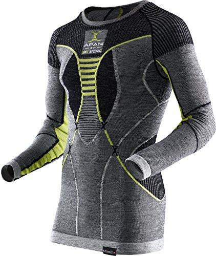 X Bionic Apani Merino By UW LG-SL Roundneck, Maglia Intima Termica Uomo, Nero/Grigio/Giallo, XXL