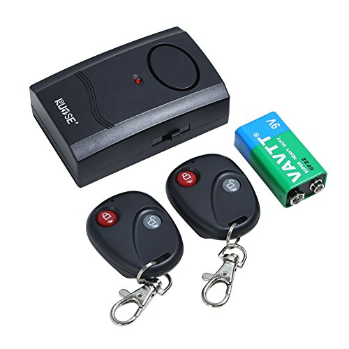 Rupse Wireless Motorcycle and Electric Car Security Vibration Burglar Alarm with 2 Remote Controls and 9V Battery