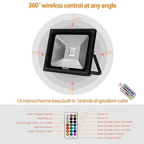 MEIKEE 50W Faretto LED RGB esterno,16 colori, 4 modalità, 360° controllato dal telecomando,...