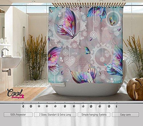 Cool diseño de mariposas Mandala cortina de ducha de la cama. Mandala cortina de ducha de baño Decor cortina de. De flores. Flores.