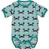MAXOMORRA Baby Jungen Body Kurzarm Blau Krabbe Wickelbody BioBaumwolle GOTS - Größe: 68
