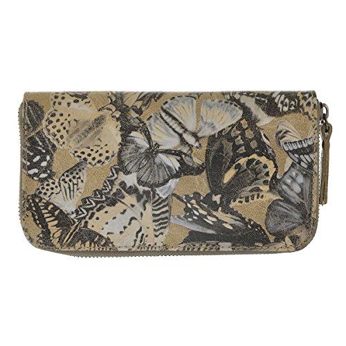 CTM La cartera de mujer made in Italy, cuero genuino italiano con el patrón de la mariposa 19.5x10.5x2.5 Cm