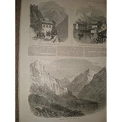 Stampa antica 1866rocca D 'anfo Salo lago Garda Italia Garibaldi Tirolo Head quarti