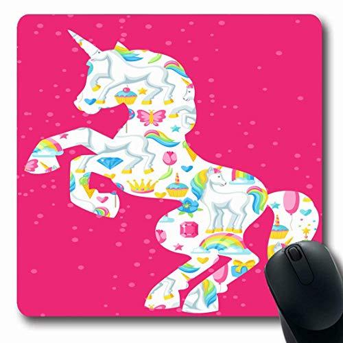 Luancrop Alfombrillas para computadoras Celebrar Globo Unicornio Fantasía Fauna y Vida Creer Diversión Cumpleaños Mariposa Pastel Diseño de Velas Sueño Antideslizante Oblong Gaming Mouse Pad