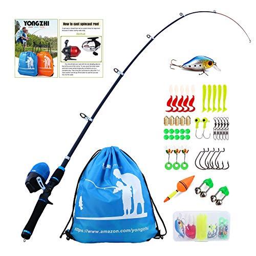 Sougayilang Canna da Pesca per Bambini con Canna Bobina telescopica Canna da Pesca Completa Kit Completo per Ragazzi, Ragazze e Adulti