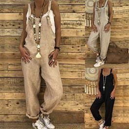 Donna Autunno Salopette – Moda Senza Maniche Cinghia Jumpsuits con Pantaloni Lunghi Elegante Casual Tuta Tutine Pagliaccetto Clubwear Khaki/Grigio/Nero S-XL