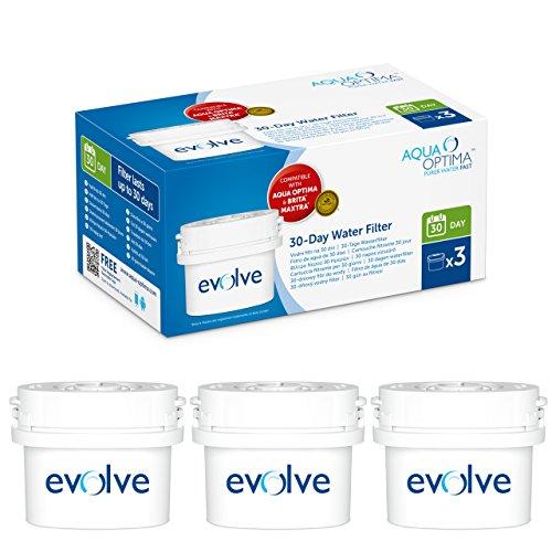 Aqua Optima Evolve - Paquete de 3 filtros de agua para 30 días, 3 meses de agua filtrada