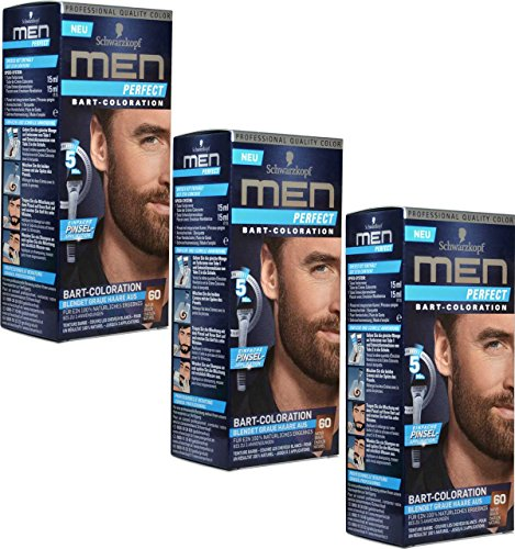 3x Schwarzkopf MEN PERFECT Bart-Coloration, 60 Natur Braun
