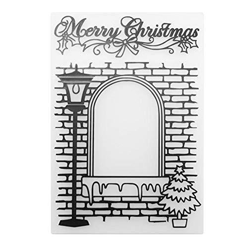 fustelle di taglio FELICE Natale DIY scrapbooking Stencil di cartella di Stencil di rilievo di...