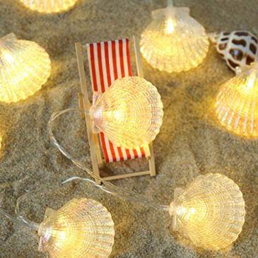 FBGood Lumières Colorées- Lampe Seahorse Shell Marine Batterie Chaîne Lampe Décoration De La Maison Lampes de Décoration Lampes pour Décoration Noël Fête Mariage Anniversaire Maison Jardin