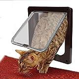 Puerta Gato del Perro, Goodid puerta automática para gatos y perros 4 Modo Pet Door (L, Marrón)