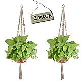 gancho flor maceta plantas soporte para decoración de interior y exterior, grande (2pcs jute plant basket with color beads)