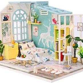 Skwenp Miniatura de bricolaje Dollhouse Kit miniatura Casa de muñecas muebles y accesorios de bricolaje 19x16x16cm miniatura de madera Casa de muñecas con la prueba del polvo de juguetes de descompres