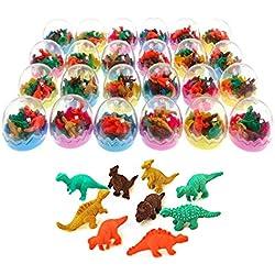 JZK 24 Huevos Dinosaurio con Poca Goma Juguete Dinosaurio Mini borrar Borrador lápiz Juguete para niños Fiesta a los niños Fiesta cumpleaños Rellenos Bolsas Regalo cumpleaños para niños niñas