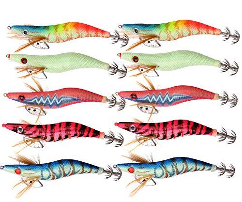 Shaddock 10pcs Esche da Pesca di gamberetti di Legno, Esca di Calamari, Esche Artificiali Spinner, Esca Kit Glow con Ganci affilati Tackle (2.5#-10pcs)