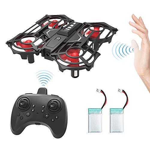Drone Telecomandati, Mini RC Quadricottero Rilevazione a Infrarossi Droni con Funzione di Sospensione Altitudine, modalità Headless, 3D Flip, Gettare modalità Volare, Tre velocità e Due Batterie