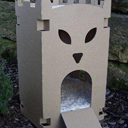 katzeninfo24.de Katzenburg aus Wellpappe – Katzenkorb, Katzenhöhle, Katzenhaus, Katzenschloß
