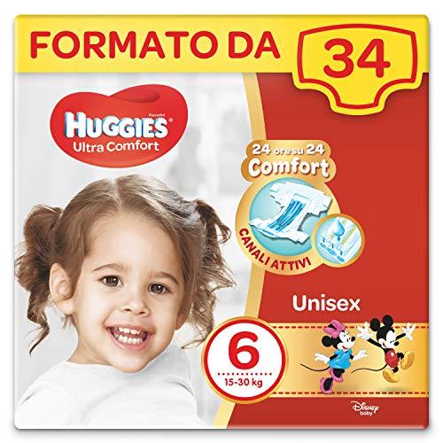 Huggies Pannolini Ultra Comfort, Taglia 6 (16-30 kg), Confezione da 34 Pannolini