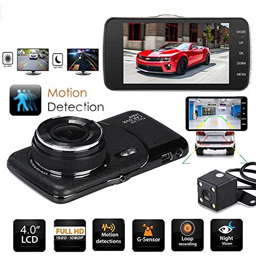 "elegantstunning 4"" 1080P 170° Dual Lens Car Dash Cam Front and Rear Camera Dashboard DVR Recorder (Black)"