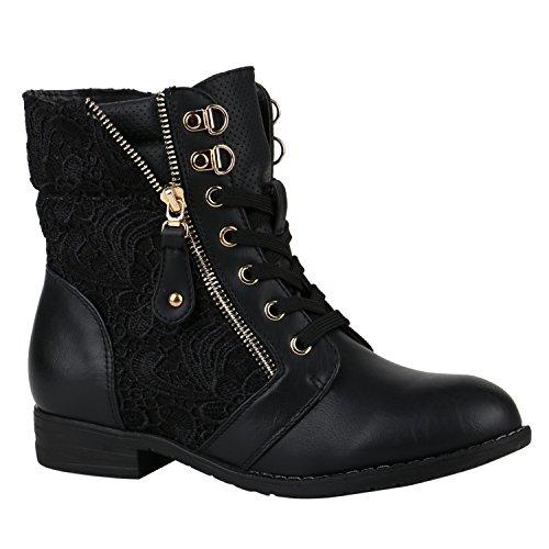 c0ac1b0b0d13bf Stylische Damen Stiefeletten Worker Boots Knöchelhohe Stiefel Gesteppt Damen  Leder-Optik Zipper Schuhe 144305 Schwarz Zipper 36 Flandell