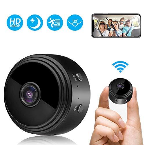 Telecamera Spia, FHD 1080P Mini Telecamera Wireless WiFi Microcamera Spia Nascosta con Visione Notturna Video Registratore Sorveglianza con Allarme di Movimento Portatile Batteria per iPhone/Android