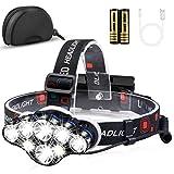 Stirnlampe, 13000 Lumen Brighest 8 LED kopflampe mit weiß Rot Stirnlampe Beleuchtung, USB Stirnlampe Wiederaufladbare kopflampe Wasserdicht, kopflampe 8 Betriebsarten für Outdoor Camping Angeln