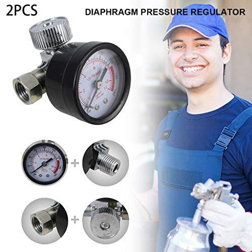 99native 2 Stück HVLP-Sprühluftregler, Druckmessgeräte, Wasser Pool-Manometer, Manometer Niederdruckmanometer, mit Manometer und Membransteuerung Druckregelventil,0-160 PSI (schwarz+silber)
