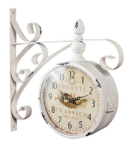 Orologio bifacciale da parete tipo stazione in ferro battuto finitura bianco anticato L31XPR9xH31 cm